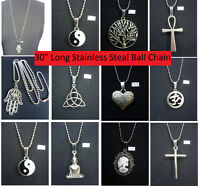 """A Tibetan Silver Charm Pendant 30"""" Long Stainless Steel Ball Chain Necklace Surf"""