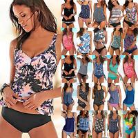 Women Push Up Padded Tankini Bikini Set Swimsuit Swimwear Beachwear Bathing Suit