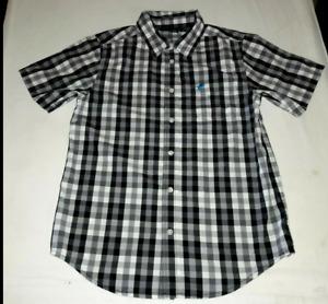 Wrangler western plaid shirt boys size 10 12 blue mustang logo MINT