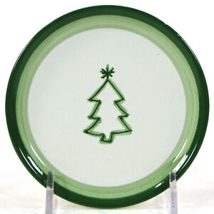 "Pottery Barn KEEPSAKE TREE 4.25"" Mini Plate Coaster Green Deboss Christmas Icon"