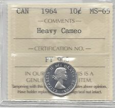 **1964**, ICCS  Graded Canadian,  10  Cent, **MS-65 Heavy Cameo**