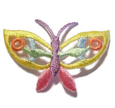 Butterfly Embroidered Applique Cutwork Patch Lot Pastel Yellow Pink~ Set of 7
