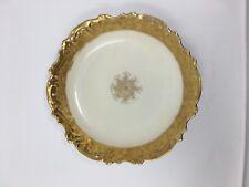 """Antique Elite Works Limoges Gold Trimmed & Painted Porcelain Bowl Dish 10.25"""" W"""