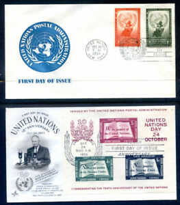 United Nations 1954 Human Rights & 1955 10th Anniv. sheet fdc's (2020/12/22#08)