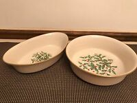 "Lenox  ""HOLIDAY"" (Special)  Holly / Berry ~ 2 Pc Set ~ Oval, Round Serving Bowls"