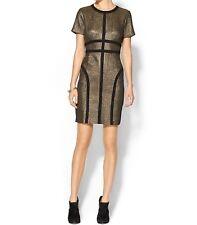 NWT $98 Pim + Larkin Metallic Gold Quilt Look Mini Dress Sz 2
