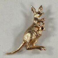 Avon Kangaroo Brooch Baby Joey Gold Tone Rhinestone Movable 1975 Vintage Pin