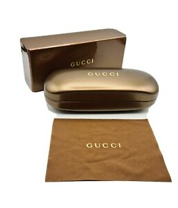 GUCCI Luxury Slim Gold Hard Spectacle Glasses Sunglasses  Lunettes Case