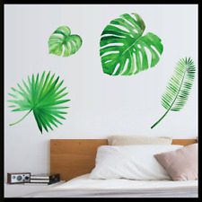 Green Palm Leaves Wall Sticker Tropical Removable Decals Mural Background Decor