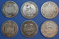 More details for 6 x shilling george iii - victoria - edward vii 1/- sterling silver english