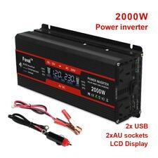 2000w peak car charger converter power inverter DC 12v to AC 240v 2 USB LCD New
