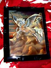 Handmade 1980 Sue Dawe Flying Pegasus Artist Signed 3D Decoupage Wood Art Plaque