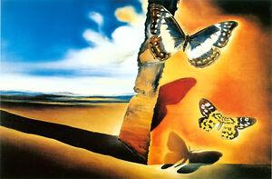 Gerahmter Druck - Salvador Dali Landschaft Mit Schmetterlinge 1956 (Malerei