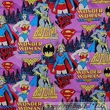 BonEful Fabric FQ Cotton Quilt Pink Super Girl Hero Batgirl Wonder Woman Comic S