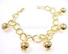 "fashion1uk Women 14K Yellow Gold Plated Oriental Ball Charm Bracelet 8.5"" 21.5cm"