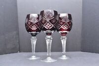 SET 3 BOHEMIAN CZECH CUT TO CLEAR CRYSTAL WINE HOCKS GOBLET GLASSES RUBY RED