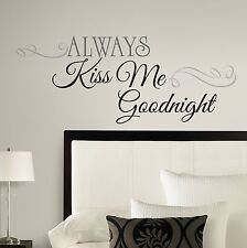 New ALWAYS KISS ME GOODNIGHT Big Peel & Stick Wall Decals Bedroom Stickers Decor