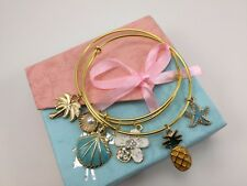 Island Life Gold Plated Stainless Steel Bangle Charm Bracelet Set w/Free Gift