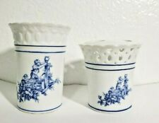 Ceramic Reticulated Bathroom Set Cup & Toothbrush Holder White and Blue England