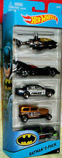 2016 Hot Wheels Batman 5 pk Batcopter, Batmobile, Ford Fusion, Midnight Otto & S