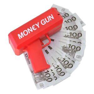 Scherzartikel Geldregen Pistole mit 100 Geldscheinen Spaßartikel Gadget Euro