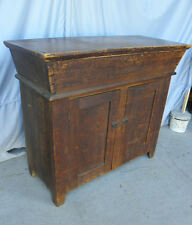 Early Country Primitive Antique Pine Dough Box on Cupboard Base