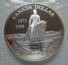 1998 CANADA 125TH ANNIVERSARY OF THE RCMP PROOF SILVER DOLLAR HEAVY CAMEO COIN