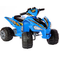 New Kids Ride On Car-quad Pro Raptor Style 12v Electric Battery Toy Atv In Blue