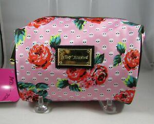 Betsey Johnson Skulls Floral Cosmetic Bag Small Makeup Case Polka Dot Skulls NWT