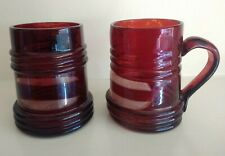 Antique Victorian Pair Miniature German Czech   TANKARDS RED RUBY FLASHED GLASS