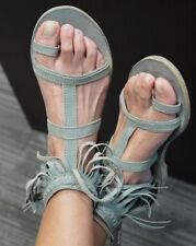 NEW/NIB Liberty Black Blue/Green Sky Fringe Sandals 11 Prairie Grass Sundance Ca
