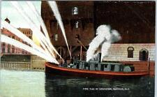 BUFFALO, New York  NY   FIRE TUG in OPERATION  Fire Department 1908  Postcard