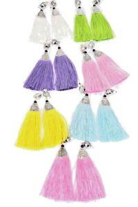 Clip On Pastel Tassel Fringe Earrings