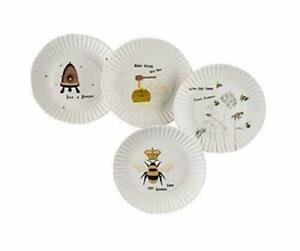 "180 Degrees Busy Bees Melamine Plates Debbie Taylor-Kerman 7.5"" Set of 4 NEW!"
