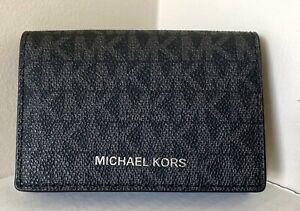 Nuovo Michael Kors Porta Biglietti da Visita PVC Pelle Nero