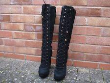 BNWB BiBA Vonda Victorian Lace up Steampunk Black 100 Suede Knee High BOOTS