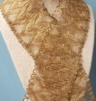 Antique Lace Trim Gold Metallic Edging Art Deco VTG Sewing 2 3/4' Wide x 1 Yard