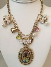 NWT Rare Betsey Johnson Cat bow floral rose fish heart charm Necklace