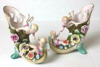 Vintage J.B Boane Footed Cherub Horn Cornucopia Vase Planter Figurine & Flowers.