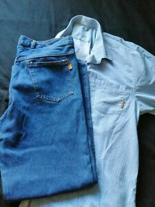 HMP Prison Issue Jeans and Shirt. 35W x 31L jeans. 18inch collar shirt.