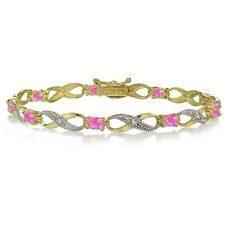 Gold Tone over 925 Silver Created Pink Opal and Diamond Accent Infinity Bracelet