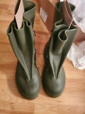 Vtg Size 8 Green Rubber Rain Boots Army Military Galoshes Overshoes Waterproof