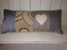 """LUXURY SHABBY CHIC CHENILLE  CUSHION WITH LEATHER APPLIQUÉ HEARTS 21"""" X 10"""" *"""