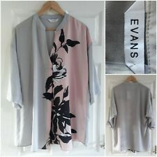 Evans Grey and Pink Blouse Shirt Size 14 Floral Tunic 3/4 Sleeves Lagenlook