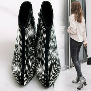 Ankle Boots Mid Block Heel Womens Rhinestone Round Toe Side Zip Party Shoes Chic
