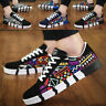 Men's Casual Breathable Sneakers Graffiti Lace-Up Canvas Walking Trainers Shoe