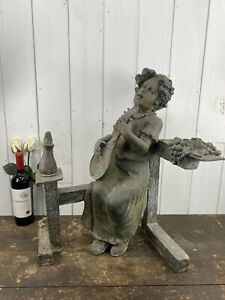Prescara Large Bronze Garden Outdoor Statue Of Lady Playing An Instrument