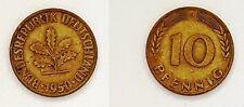 """2x 1950 German 10 PFENNIG Deutschland Vintage COIN - cold war era """" D """""""