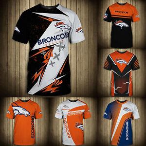 Denver Broncos Men's T-shirt Summer Casual Short Sleeve Tee Top Shirts S-5XL