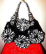 UNIQUE BLACK VINYL 4 ZEBRA PRINT FLOWERS SHOULDER BAG/3 COMPARTMENTS/ADJ HANDLES